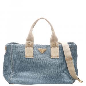 Prada Blue/Light Blue Straw Satchel Bag