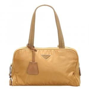 Prada Brown/Beige Nylon Tessuto Shoulder Bag