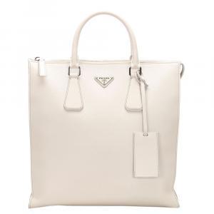 Prada White Saffiano Leather Tote Bag