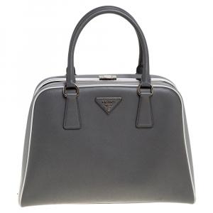 Prada Grey/White Saffiano Lux Leather Pyramid Frame Satchel