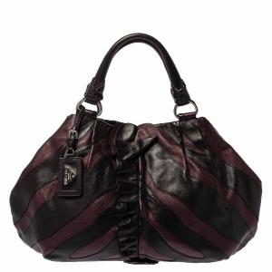 Prada Black/Purple Leather Ruffle Mordore Hobo