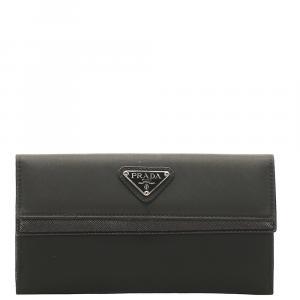 Prada Black Tessuto Saffiano Wallet