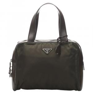 Prada Green Nylon Tessuto Satchel Bag