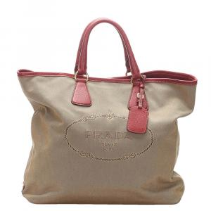 Prada Brown Canapa Tote Bag