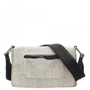 Prada White Vinatge Wool Shoulder Bag