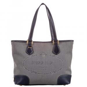 Prada Grey Canapa Canvas Tote Bag