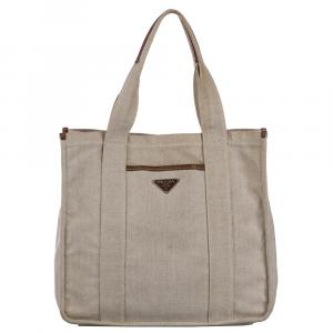 Prada Beige Canvas Canapa Tote Bag