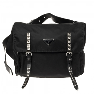 Prada Black Nylon and Leather New Vela Belt Bag