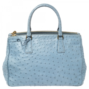 Prada Blue Ostrich Medium Galleria Double Zip Tote