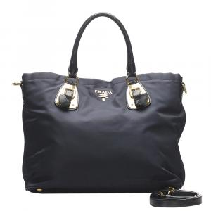 Prada Blue Nylon Tessuto Tote Bag
