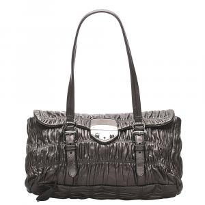 Prada Brown Leather Nappa Gaufre Bag
