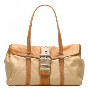 Prada Brown Leather and Nylon Tessuto bag
