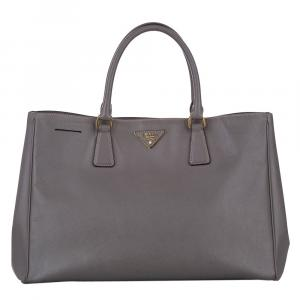 Prada Brown Saffiano Leather Galleria Double Zip Bag