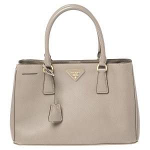 Prada Grey Saffiano Lux Leather Medium Galleria Double Zip Tote
