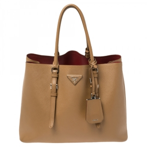Prada Tan Saffiano Cuir Leather Medium Double Handle Tote
