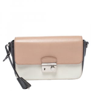 Prada Tri Color Saffiano Lux Leather Mini Sound Crossbody Bag