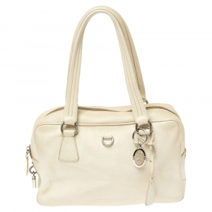 Prada White Vitello Daino Leather Balletto Bag