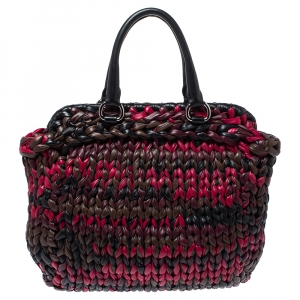 Prada Multicolor Braided Nappa Leather Tote