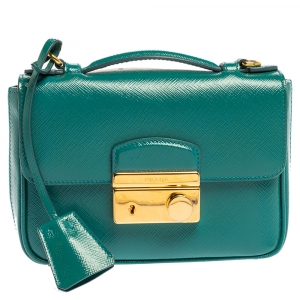 Prada Turquoise Saffiano Vernic Leather Mini Crossbody Bag