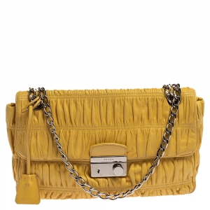 Prada Yellow Nappa Gaufre Leather Chain Flap Shoulder Bag
