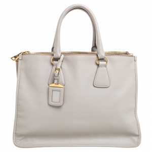Prada Light Grey Saffiano Lux Leather Double Zip Tote