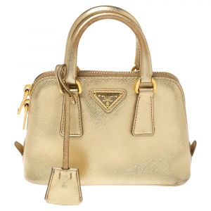 Prada Meatllic Gold Saffiano Lux Leather Mini Promenade Crossbody Bag