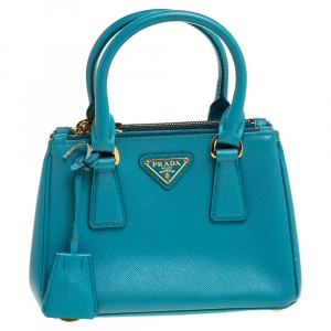 Prada Blue Leather Mini Double Zip Crossbody Bag
