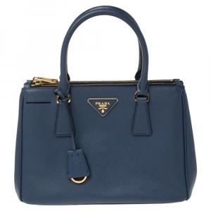 Prada Blue Saffiano Lux Leather Small Galleria Double Zip Tote