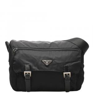 Prada Black Nylon/Leather Tessuto Crossbody Bag