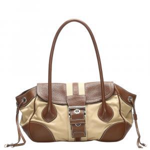 Prada Brown/Beige Leather-trimmed Nylon Tessuto Bag
