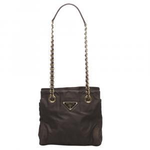 Prada Brown Tessuto Chain Shoulder Bag