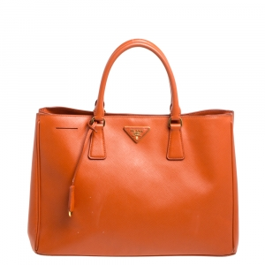 Prada Orange Saffiano Lux Leather Large Gardener's Tote