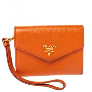 Prada Orange Saffiano Leather Wristlet Wallet