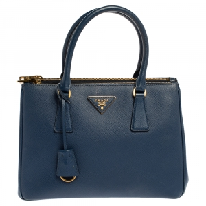Prada Blue Saffiano Lux Leather Small Double Zip Tote