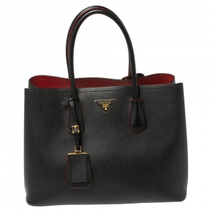Prada Black Saffiano Cuir Leather Large Double Handle Tote