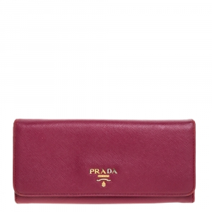 Prada Fuchsia Saffiano Leather Continental Flap Wallet