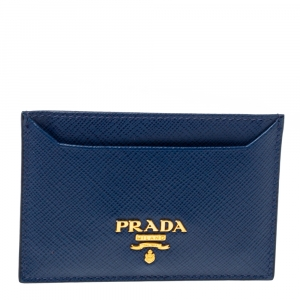 Prada Blue Saffiano Leather Card Holder