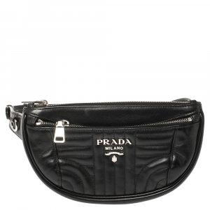 Prada Black Quilted Leather Belt Bag