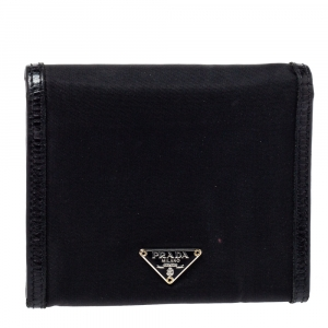 Prada Black Nylon and Leather Trifold Wallet