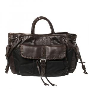 Prada Brown/Black Nylon and Leather Whipstitch Pocket Shoulder Bag