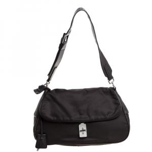 Prada Dark Brown Nylon and Leather Turnlock Flap Shoulder Bag