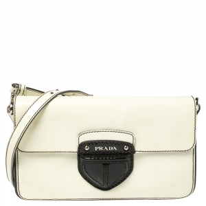 Prada Monochrome Patent Leather Flap Crossbody Bag