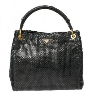 Prada Grey/Black Woven Leather Madras Tote