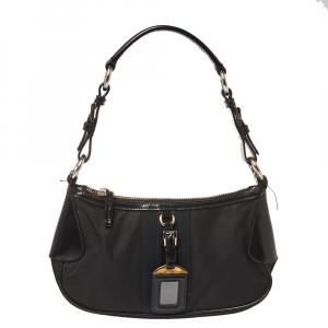 Prada Black Tessuto Nylon and Leather Shoulder Bag