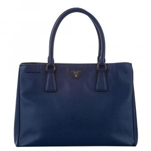 Prada Blue Saffiano Lux Leather Galleria Double Zip Tote Bag