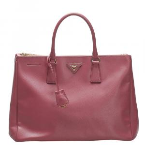 Prada Red Saffiano Leather Lux Double Zip Bag