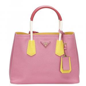 Prada Pink/Yellow Saffiano Leather Galleria Crossbody Bag