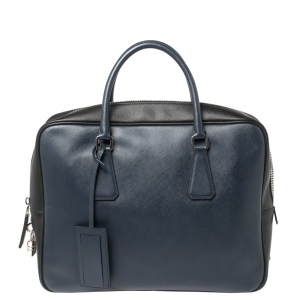 Prada Navy Blue/Black Saffiano Lux Leather Travel Briefcase