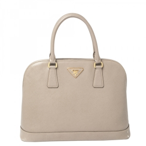 Prada Taupe Saffiano Lux Leather Open Promenade Satchel