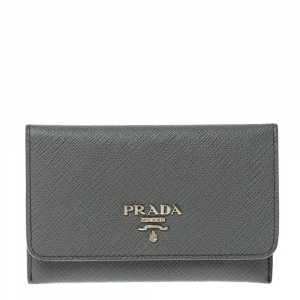 Prada Grey Saffiano Leather Flap Card Holder